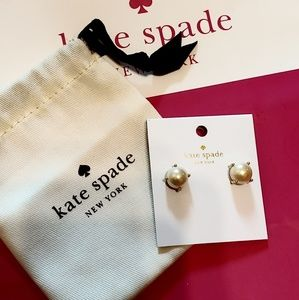 Kate Spade yellow gold pearl studs NWT